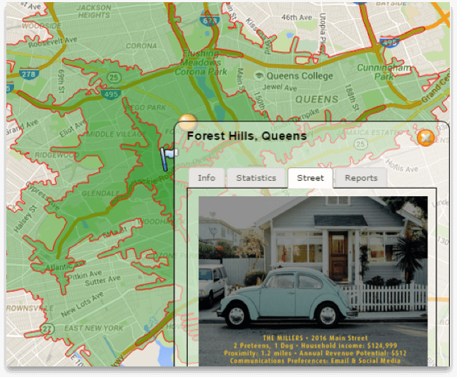 Mapping with demographic detail and personas for site location selection
